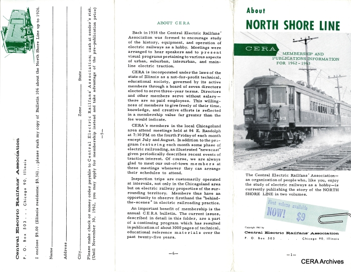 According to this brochure, the first volume in CERA's famed North Shore Line series appeared just a few months before abandonment.