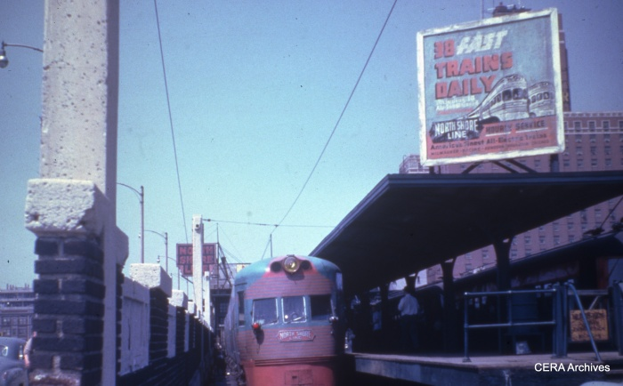 """An Electroliner berthed at the North Shore Line's Milwaukee terminal- one of """"38 fast trains daily."""" (CERA Archives)"""