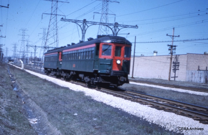 A two-car North Shore train at speed along the Skokie Valley Route. (CERA Archives)