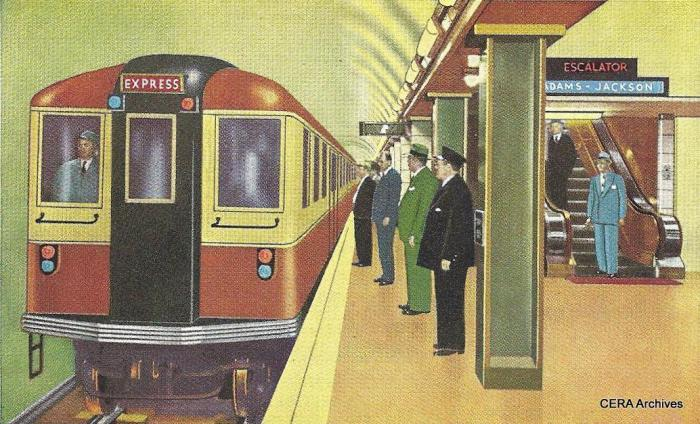 "A rather fanciful early 1940s postcard, showing what appears to be a New York BMT ""Bluebird"" train in the Chicago subway. The four experimental articulated cars 5001-5004 (later renumbered to 51-54, and not to be confused with the current 5000-series) were based on the Bluebird design and were delivered in 1947-48. (CERA Archives)"
